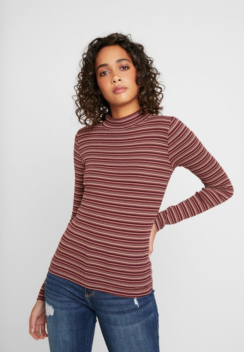 Hollister Co. - SLIM MOCK - T-shirt à manches longues - bordeaux/multi-coloured