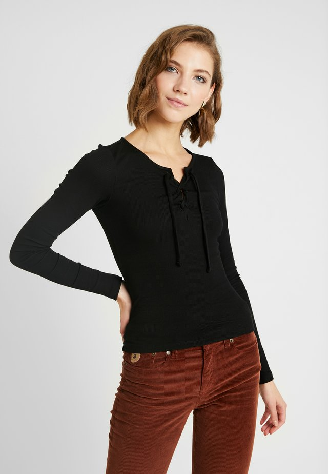 LONG SLEEVE LACE UP - Long sleeved top - black