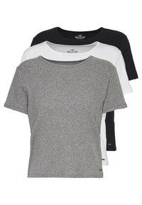 Hollister Co. - SLIM CREW BASIC 3 PACK - T-shirt - bas - white/grey/blue - 0