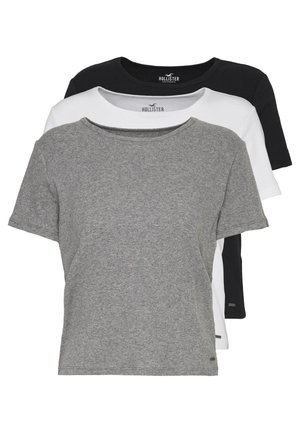 SLIM CREW BASIC 3 PACK - T-shirts - white/grey/blue