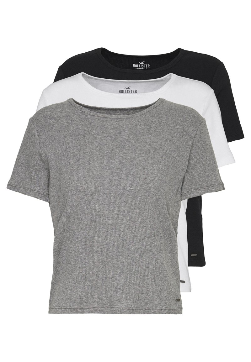 Hollister Co. - SLIM CREW BASIC 3 PACK - T-shirt - bas - white/grey/blue