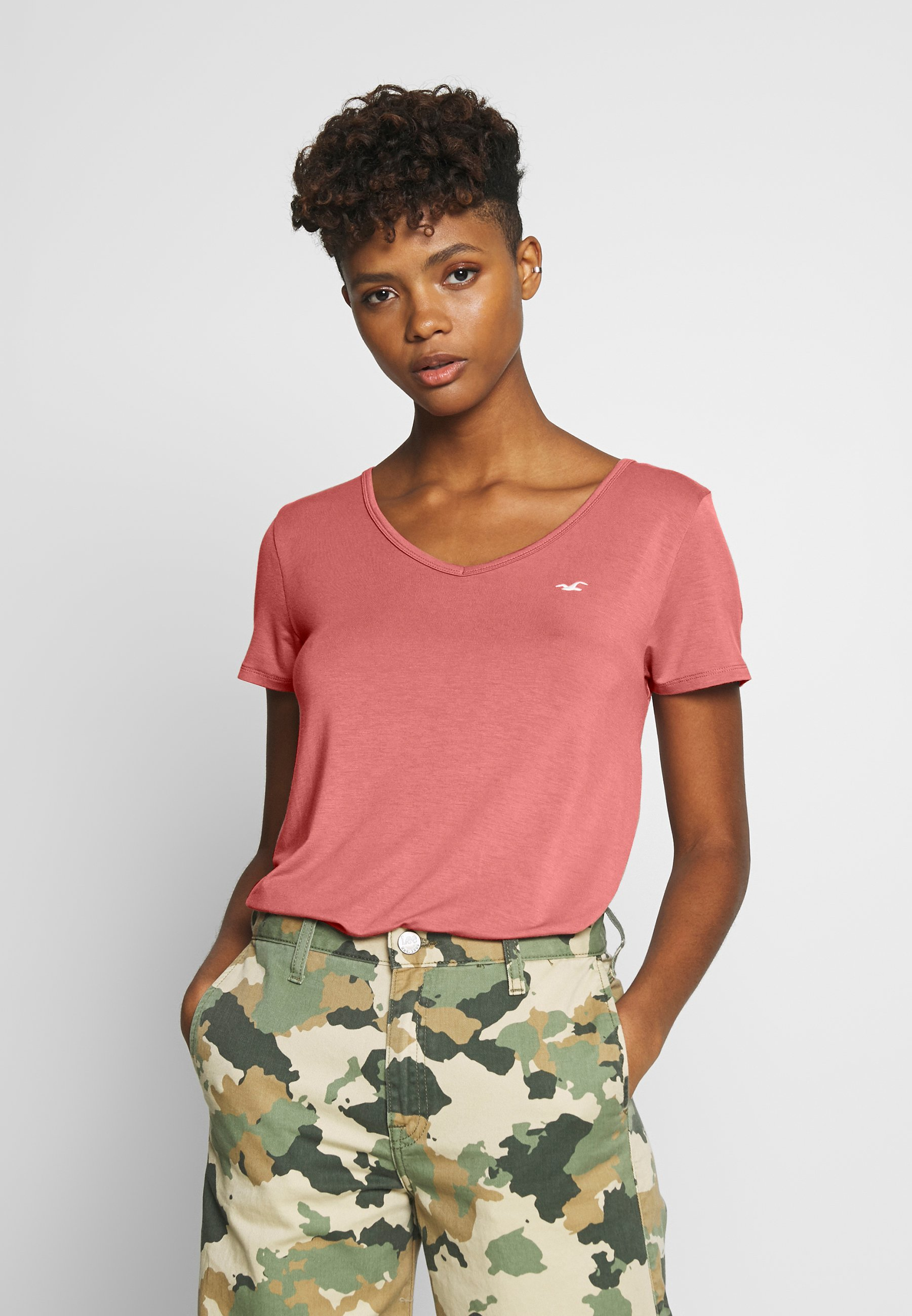 Hollister Co. EASY VEE FASH - T-shirts - canyonrose