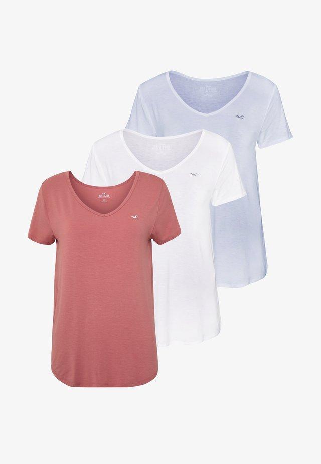 EASY 3 PACK - Print T-shirt - white/canyonrose/xenonblue