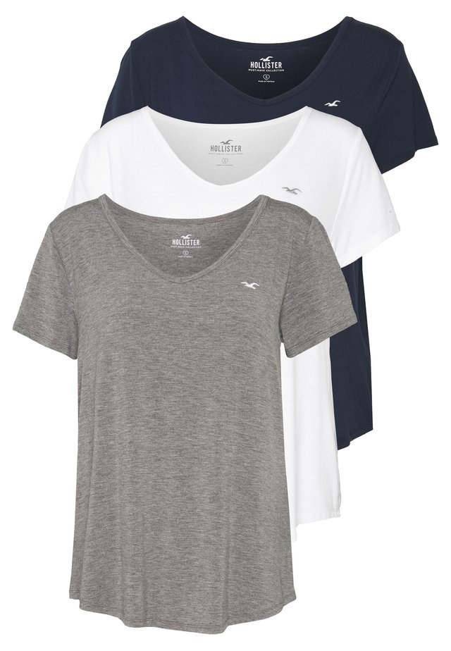 EASY BASIC 3 PACK - T-Shirt basic - white/grey/navy