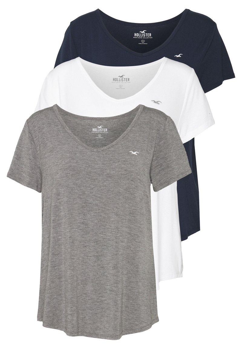 Hollister Co. - EASY BASIC 3 PACK - T-shirts - white/grey/navy