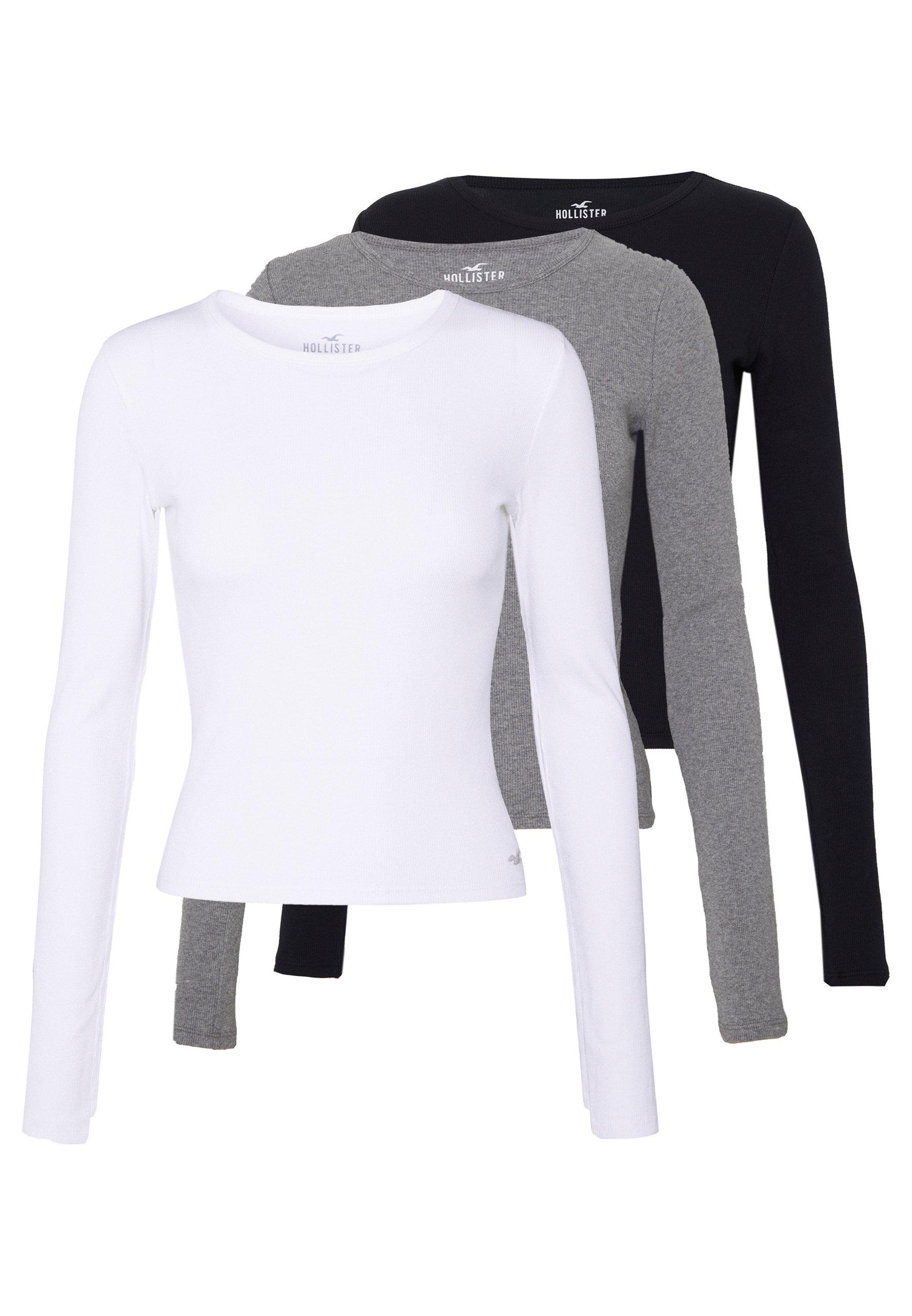 Hollister Co. SLIM CREW BASIC 3 PACK - Bluzka z długim rękawem - white/grey/black