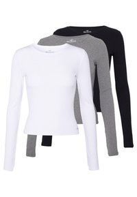 Hollister Co. - SLIM CREW BASIC 3 PACK - Maglietta a manica lunga - white/grey/black - 0