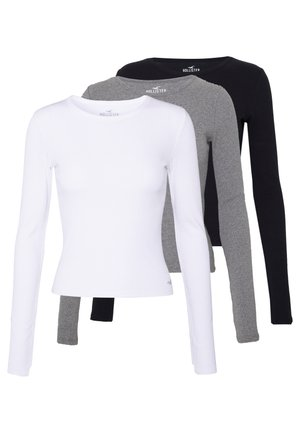 SLIM CREW BASIC 3 PACK - Camiseta de manga larga - white/grey/black