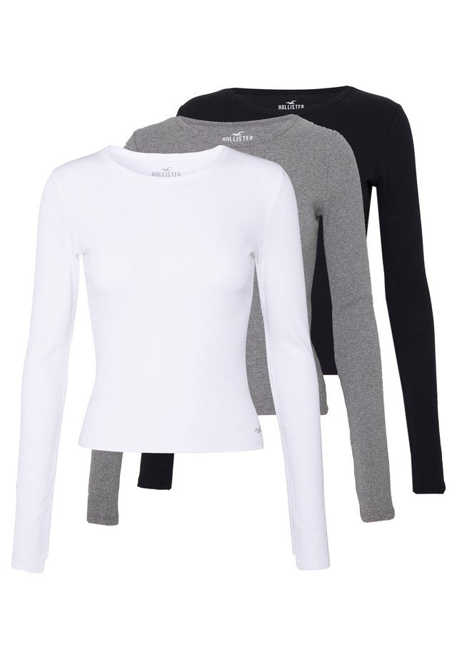 SLIM CREW BASIC 3 PACK - Langærmede T-shirts - white/grey/black