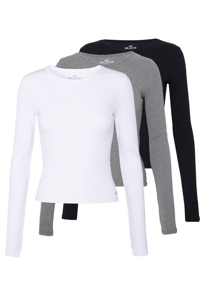 Hollister Co. - SLIM CREW BASIC 3 PACK - Maglietta a manica lunga - white/grey/black
