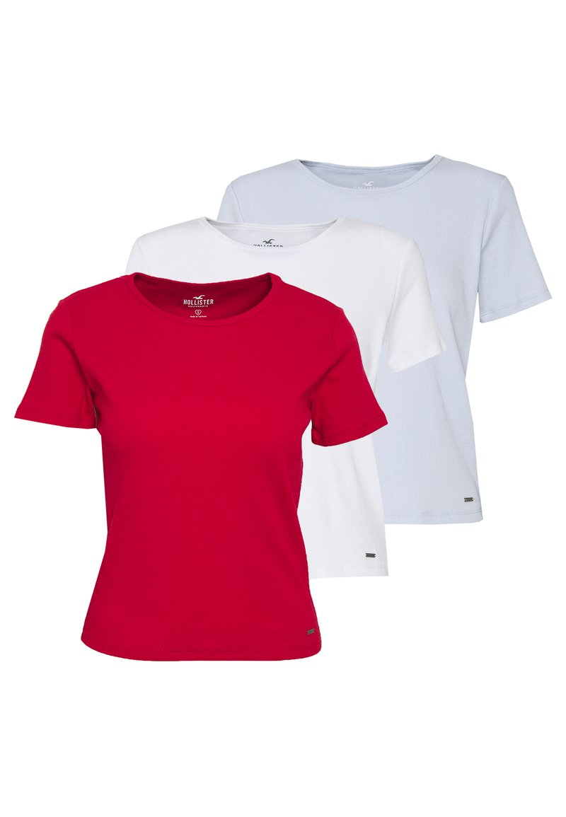 Hollister Co. - CREW FASH 3PK - Camiseta estampada - white/red/xenonblue