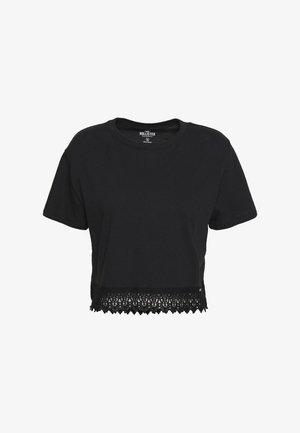 LACE HEM - Jednoduché triko - black