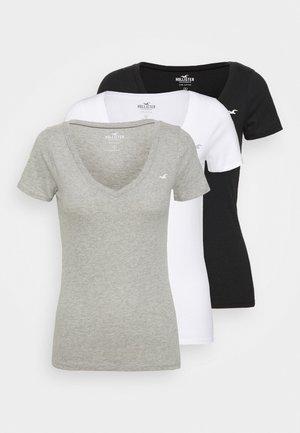 ICON MULTI 3 PACK - T-shirts - white/black/light grey