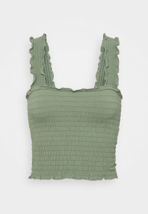 SMOCKED BOY TANK - Top - olive