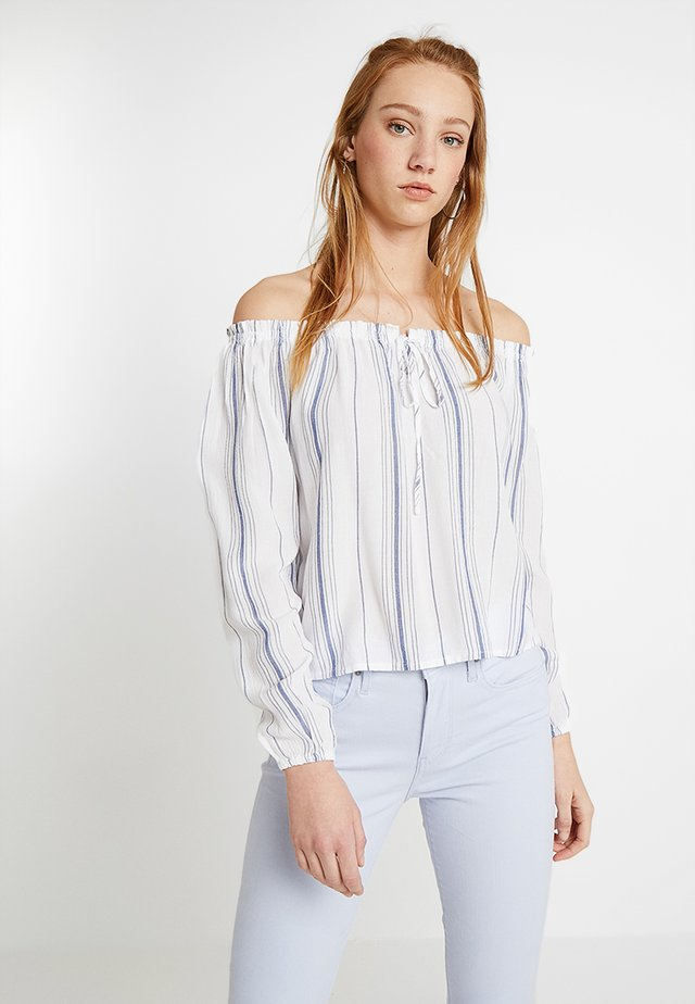 OFF THE SHOULDER TIE FRONT LONG SLEEVE - Bluse - white