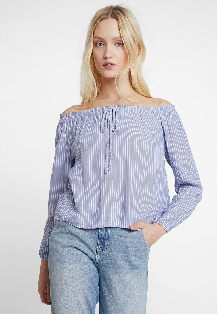 Hollister Co. - OFF THE SHOULDER TIE FRONT LONG SLEEVE - Bluse - blue
