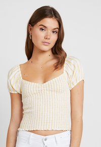 Hollister Co. - SMOCKED BODICE CROP - Blouse - yellow - 0