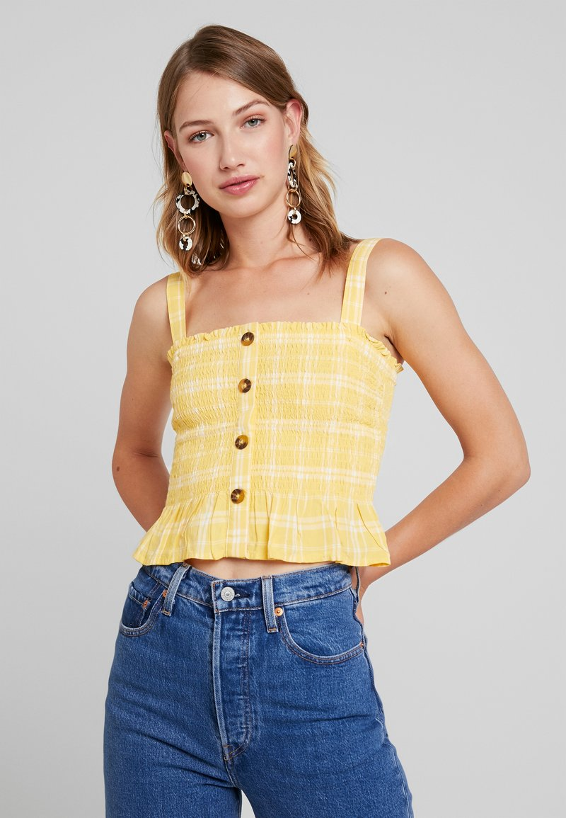 Hollister Co. - SMOCKED TANK - Top - yellow