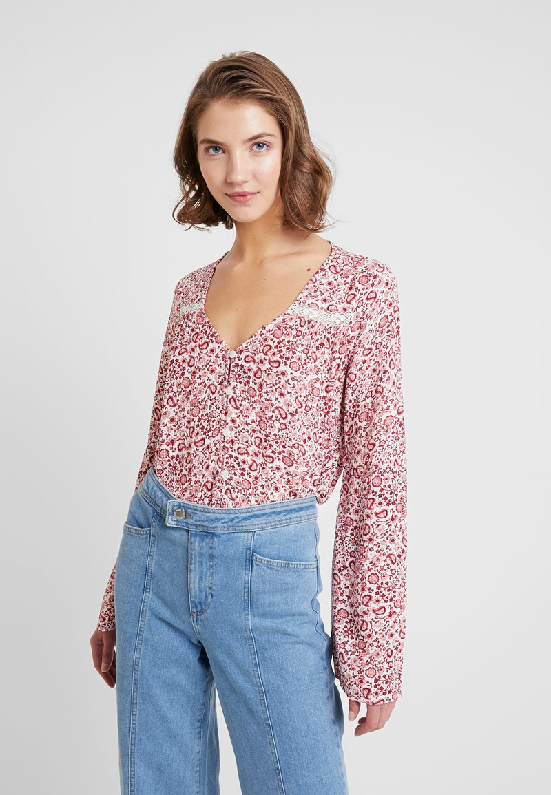 Hollister Co. - LONG SLEEVE BUTTON THROUGH - Bluse - red