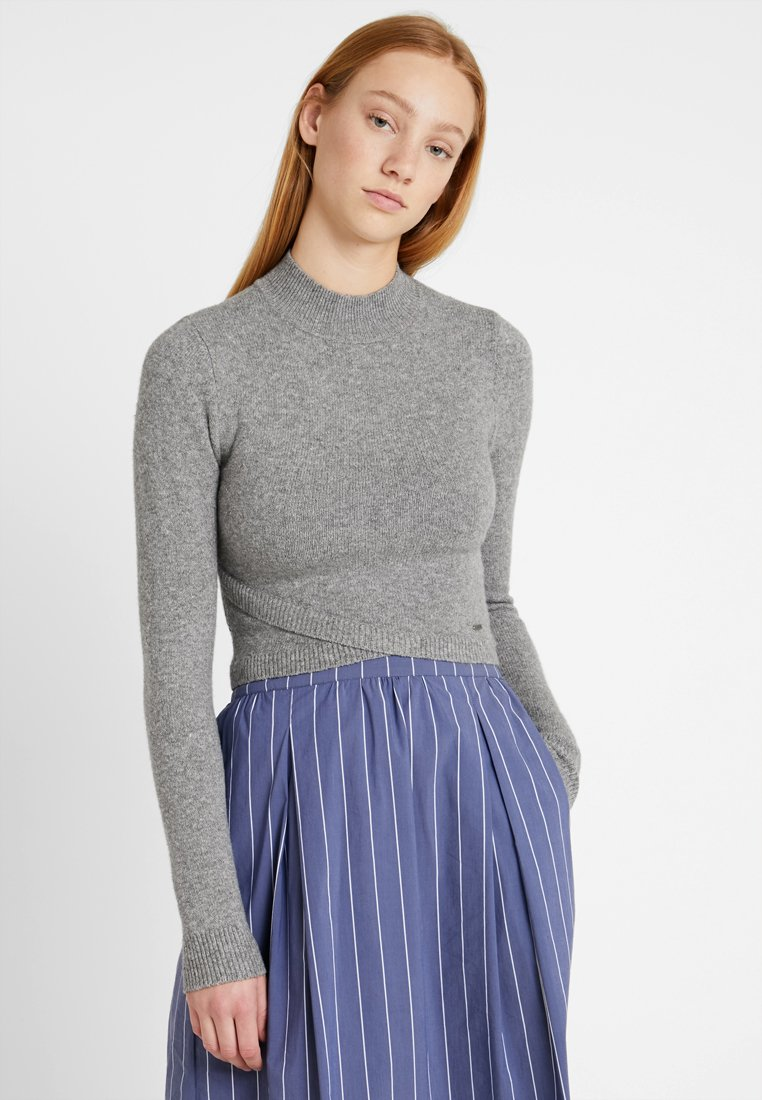 Hollister Co. SLIM BOTTOM WRAP FRONT - Pullover grey