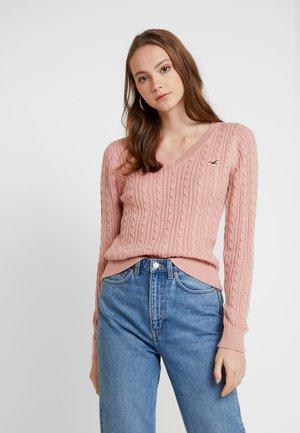 CABLE VNECK - Sweter - blush