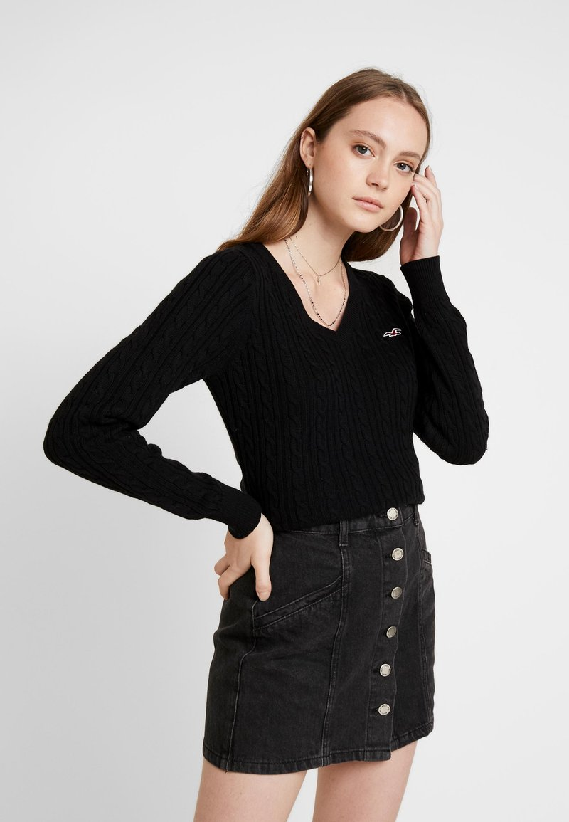 Hollister Co. - CABLE VNECK - Pullover - black