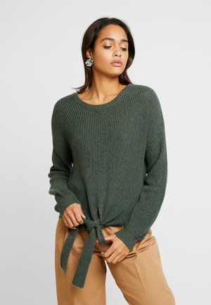 MULTI WAY TIE FRONT SWEATER - Svetr - olive