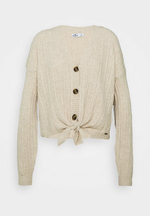 BUTTON THRU TIE FRONT - Cardigan - tan