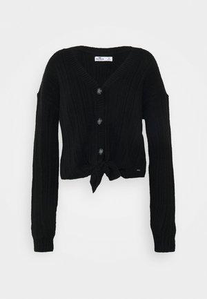 BUTTON THRU TIE FRONT - Vest - black