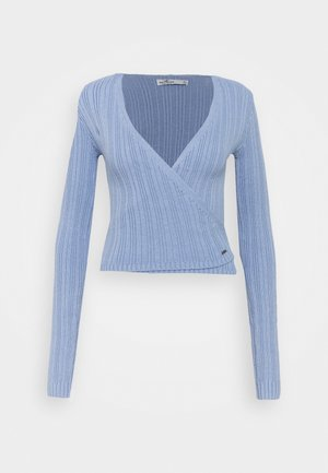 TIE BACK WRAP  - Strikkegenser - light blue