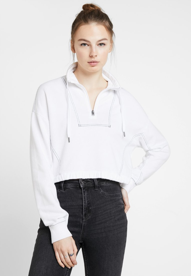 Hollister Co. - ULTRA CROP MINI LOGO HALF ZIP - Mikina - white