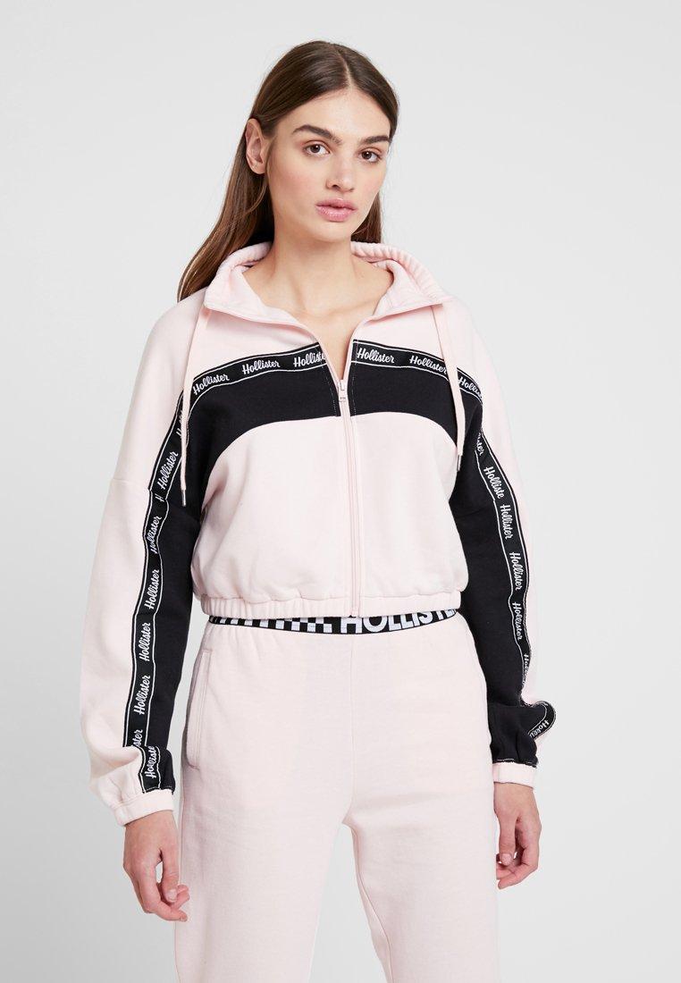 Hollister Co. - MEET GREET MOCK NECK BOYFRIEND FULL ZIP - Zip-up hoodie - pink/black