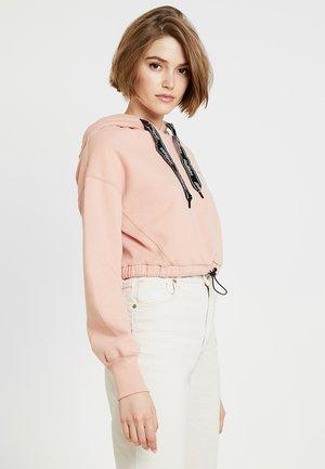 CROP - Mikina skapucí - pink