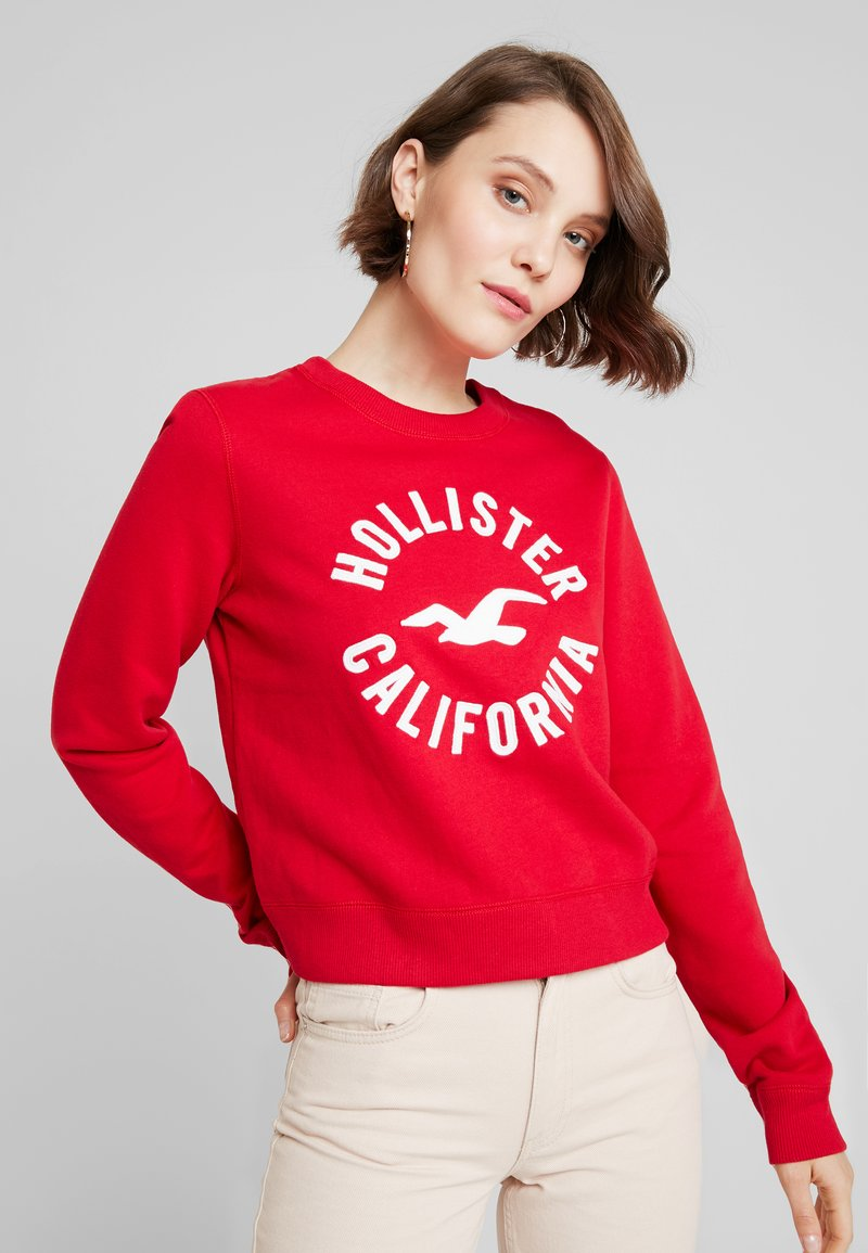 Hollister Co. - LOGO CREW - Sweatshirt - red