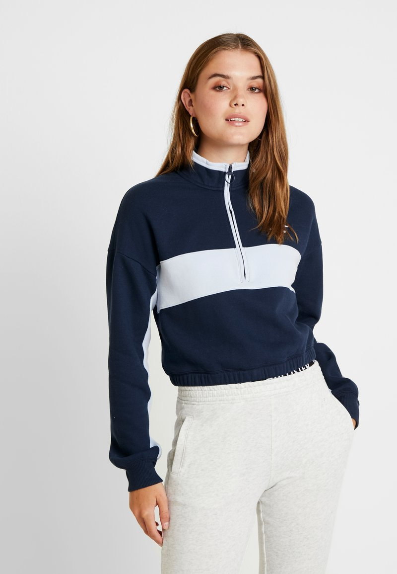 Hollister Co. - ULTRA CROP HALF ZIP - Sweatshirt - navy