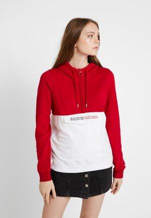 HOODED HALF ZIP - Hoodie - red/white