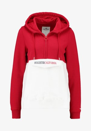 HOODED HALF ZIP - Jersey con capucha - red/white