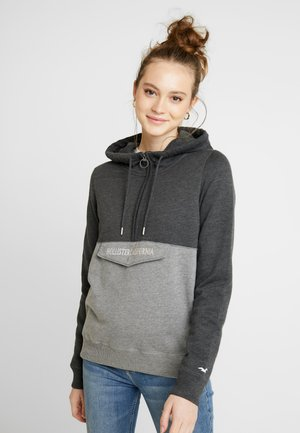 HOODED HALF ZIP - Mikina s kapucí - black to grey