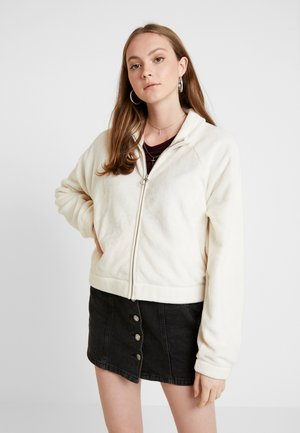 SHORT PILE FUR MOCK FULL ZIP - Zip-up hoodie - cream