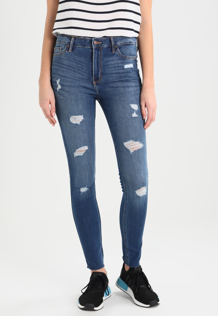 Hollister Co. - STRECH HIGH RISE SUPER SKINNY  - Jeans Skinny Fit - medium wash