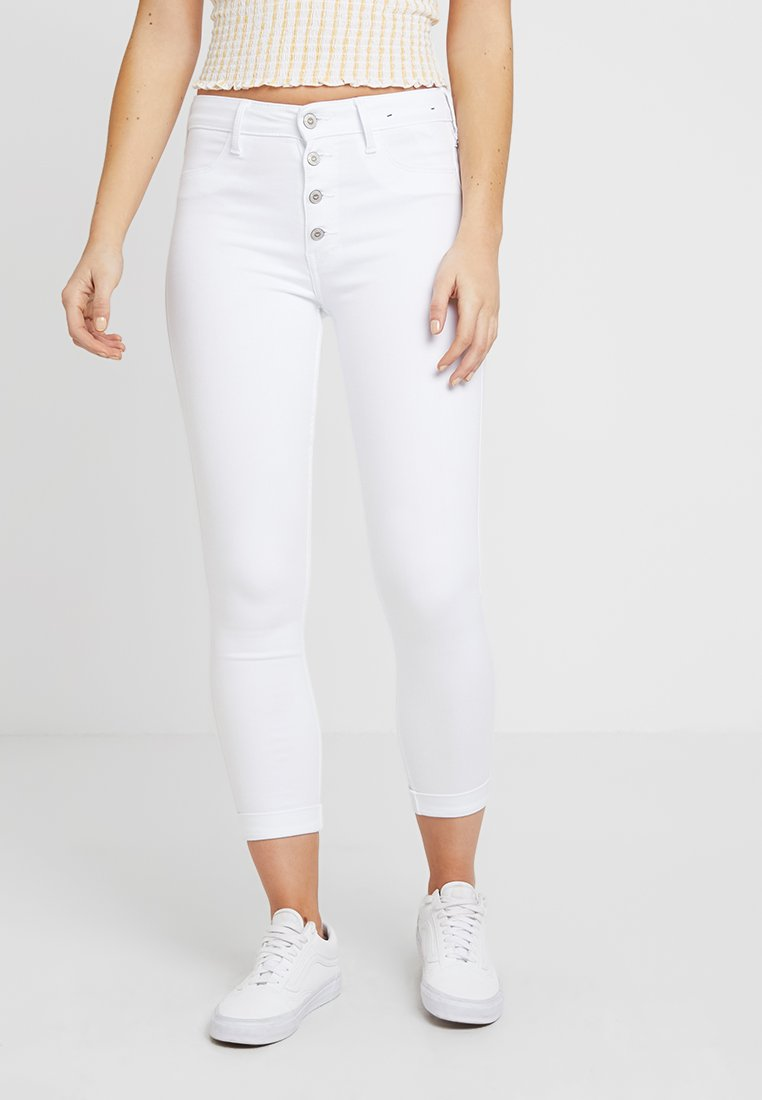 Hollister Co. - HIGH RISE CROP - Jeans Skinny Fit - white