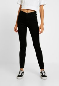 Hollister Co. - HIGH RISE SUPER - Skinny džíny - black clean - 0