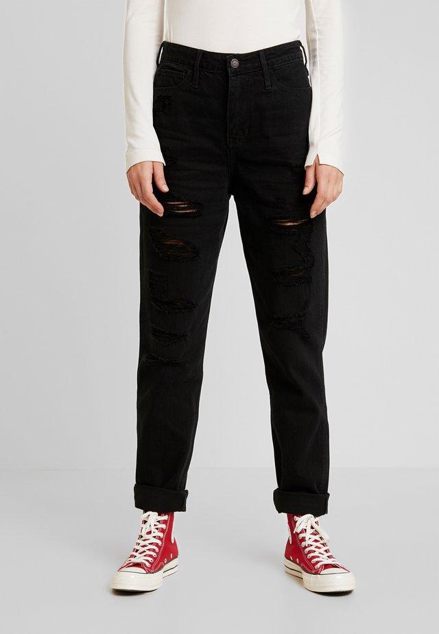 ULTRA HIGH RISE MOM - Jeans slim fit - black destroy