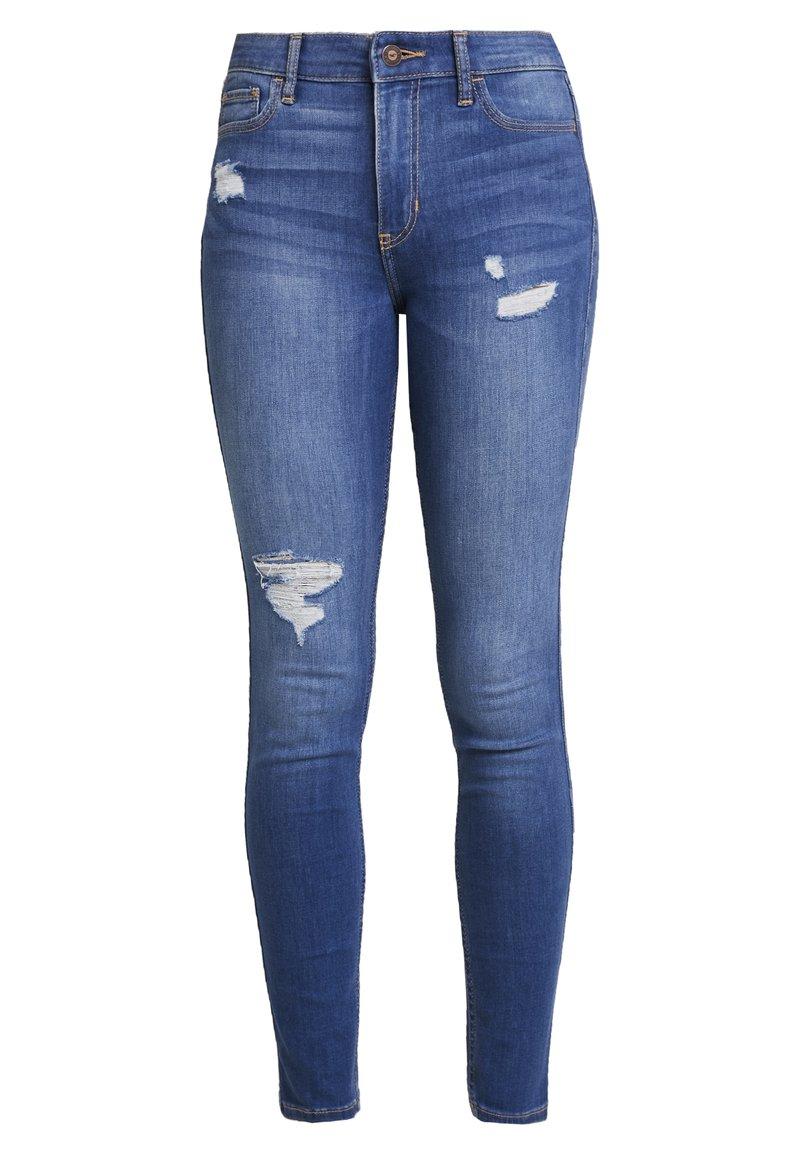 Hollister Co. - HIGH RISE SUPER - Jeans Skinny Fit - medium destroy