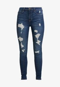 Hollister Co. - HIGH RISE SUPER  - Skinny džíny - dark shred - 4