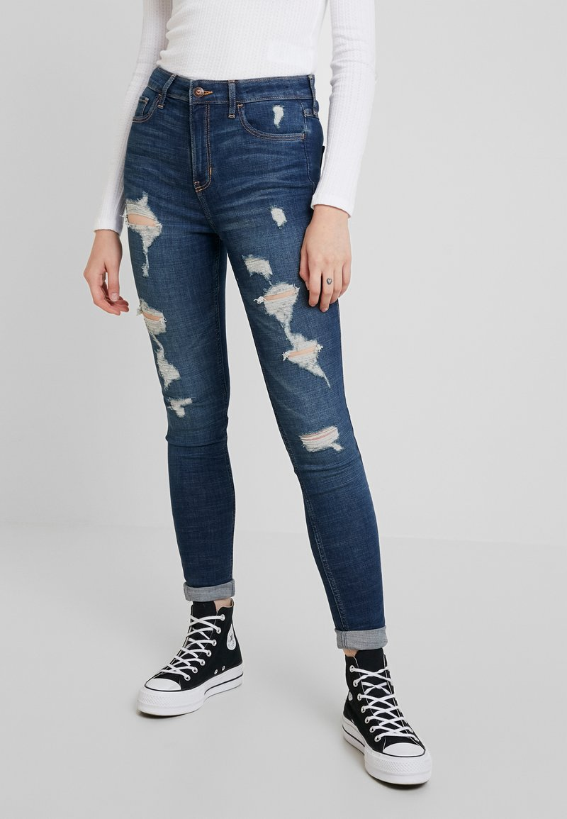 Hollister Co. - HIGH RISE SUPER  - Skinny džíny - dark shred