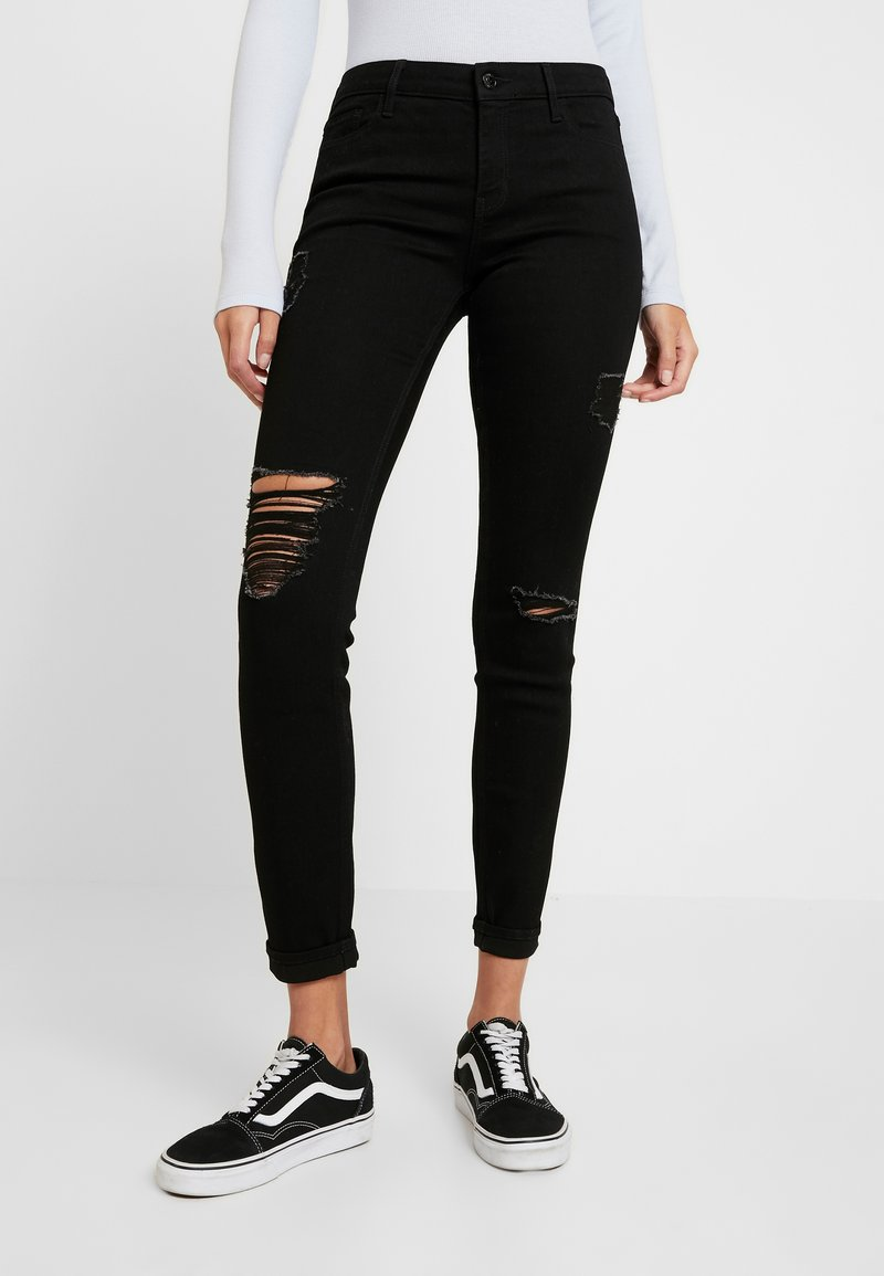 Hollister Co. - Skinny džíny - black destroyed