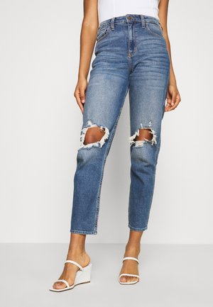 KNEEBO UHR MOM - Jeans baggy - destroyed denim