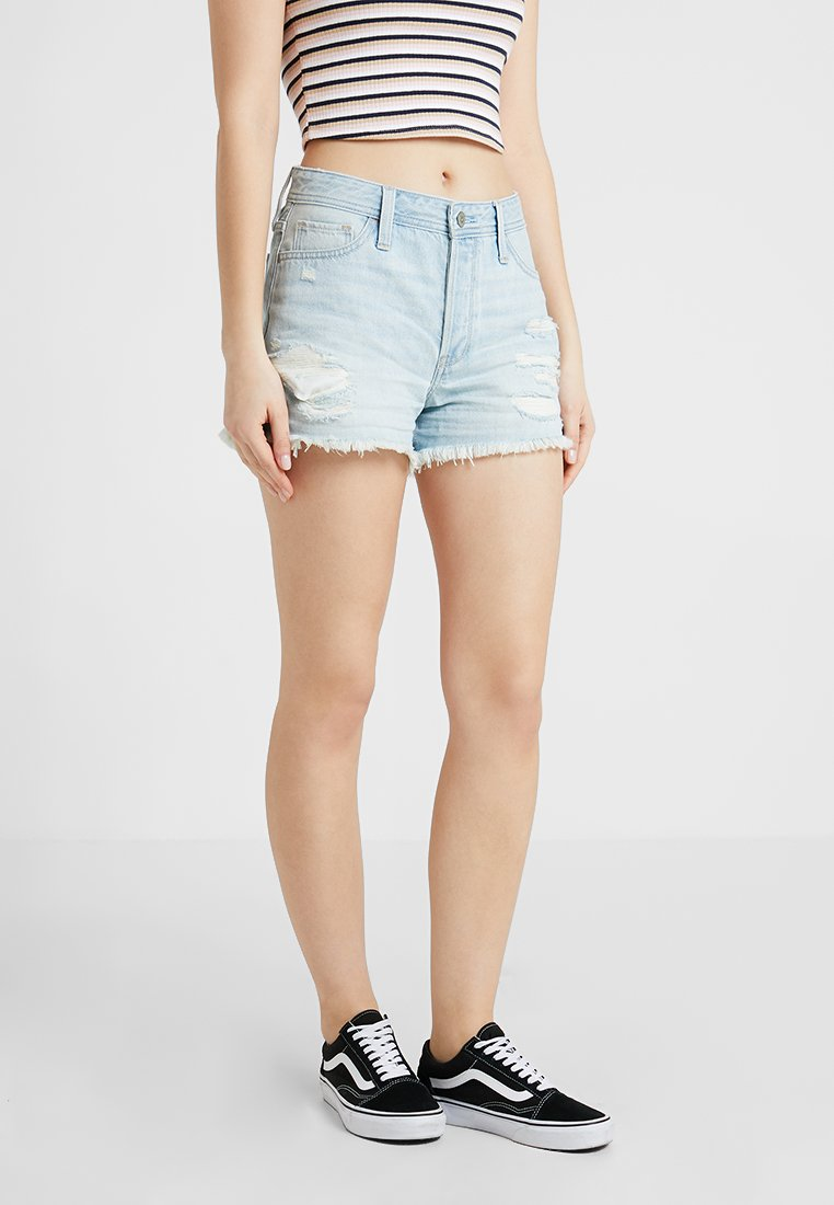 Hollister Co. - HIGH RISE MOM  - Shorts di jeans - light destroy