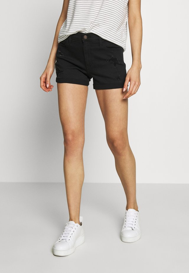 BLACK DEST ROLL  - Shorts vaqueros - black